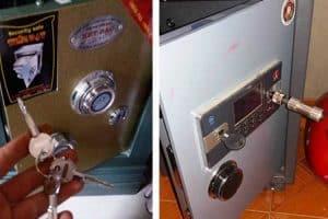 Cách mở két sắt khi hết pin - Sử dụng chìa khóa phụ